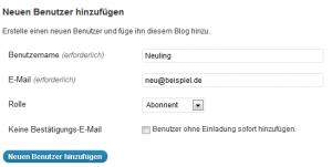 Screenshot: Neuen Benutzer anlegen
